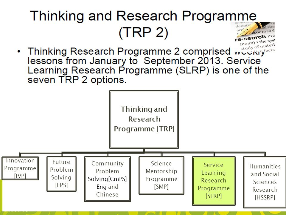 Thinking and Research Programme [TRP]